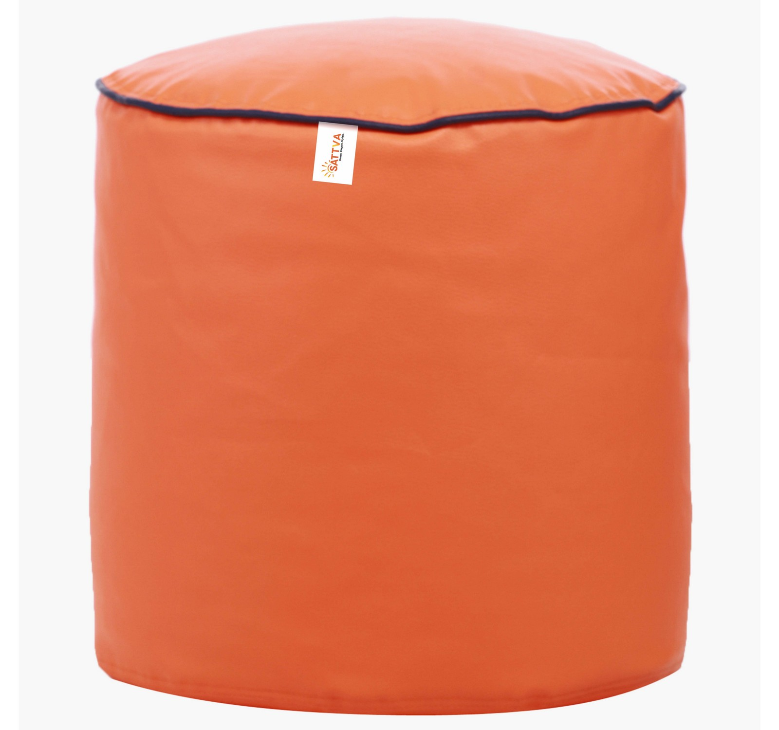 Sattva Combo Muddha Bean Bag With Piping Design And Round Foostool -Filled Black Pink Piping - XXXL (Orange With Navy Blue Piping,XXXL)