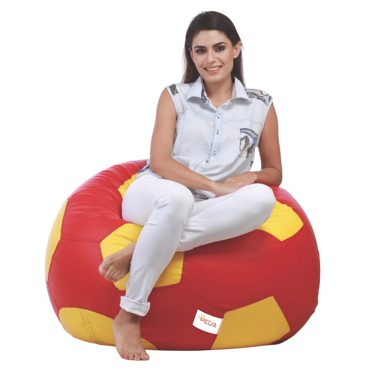 Sattva Combo Football Bean Bag And Round Foostool -Filled Black Red - XXL (Red Yellow, XXL)