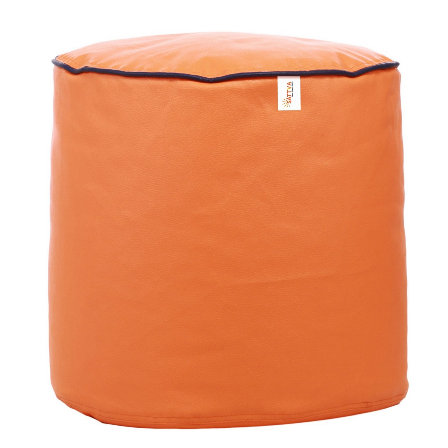 Sattva Combo Classic Bean Bag And Round Foostool-(Filled) Black With Pink Piping - XL (Orange Navy Blue Piping, XL)