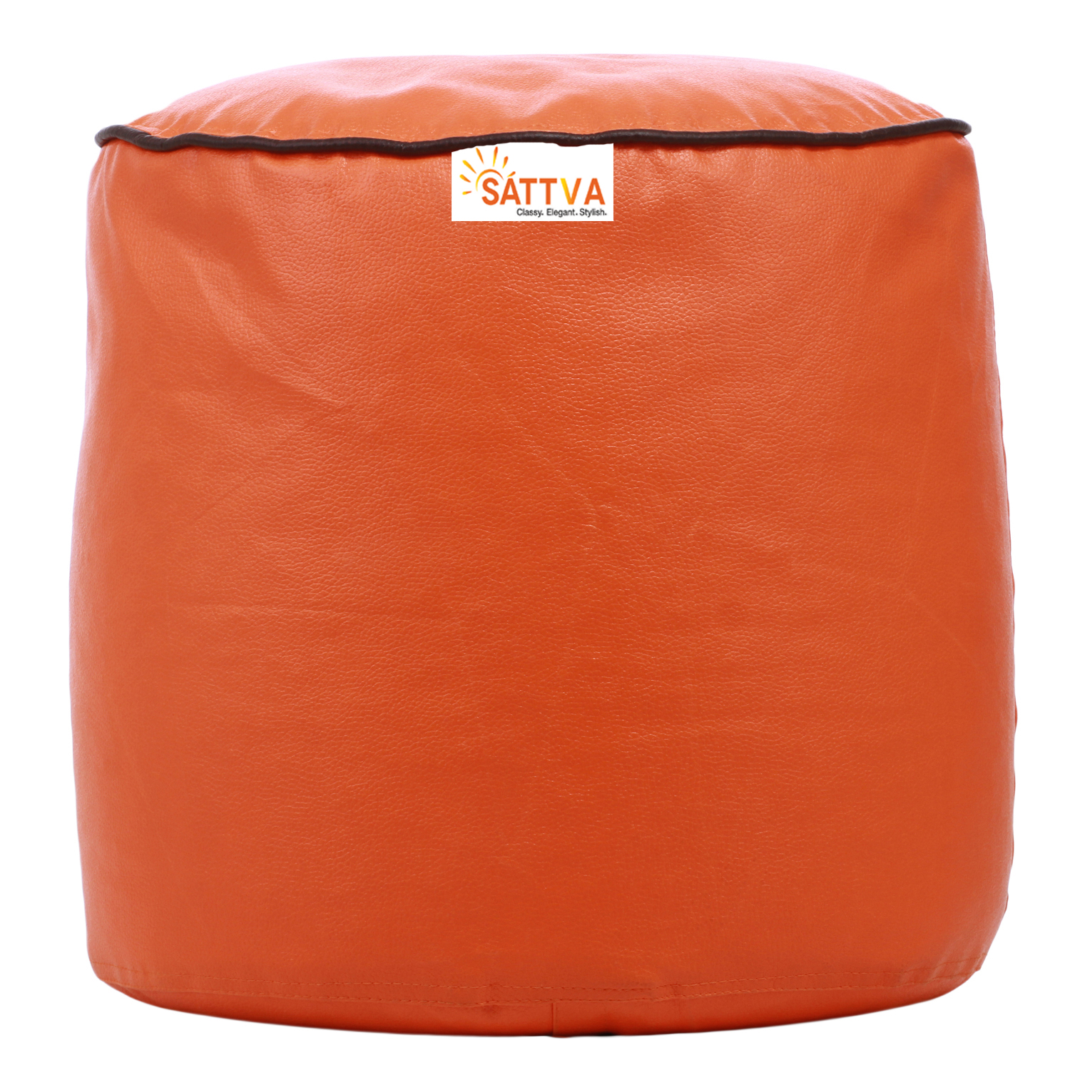 Sattva Combo Classic Bean Bag And Round Foostool-(Filled) Black With Pink Piping - XL (Orange with Brown Piping, XXXL)