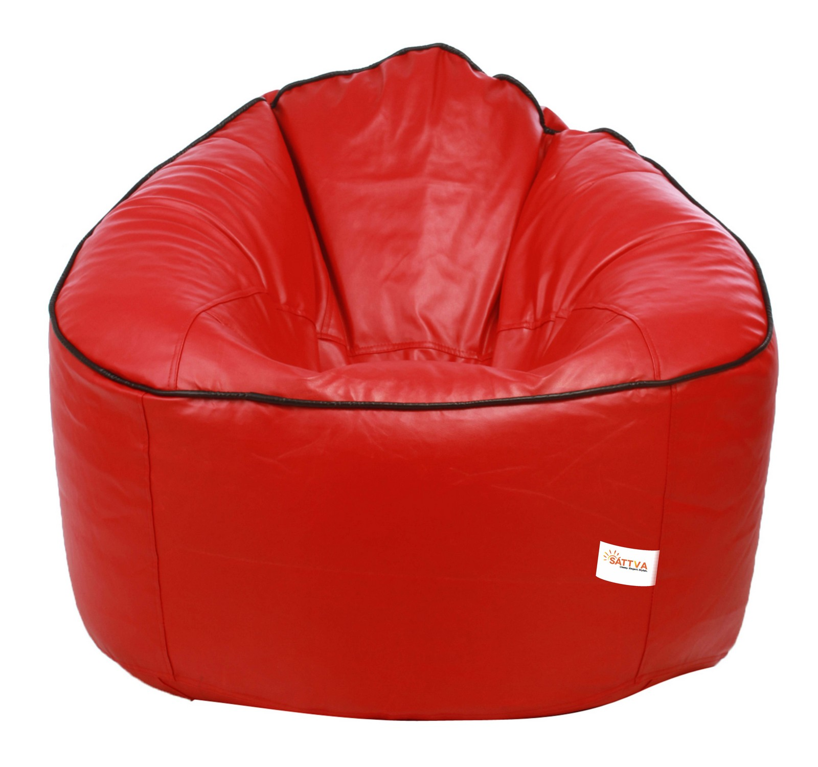 Sattva Muddha Sofa XXXL Bean Bag With Piping Design (with Beans) XXXL - Dark Green With Yellow Piping (XXXL, Red With Black Piping)