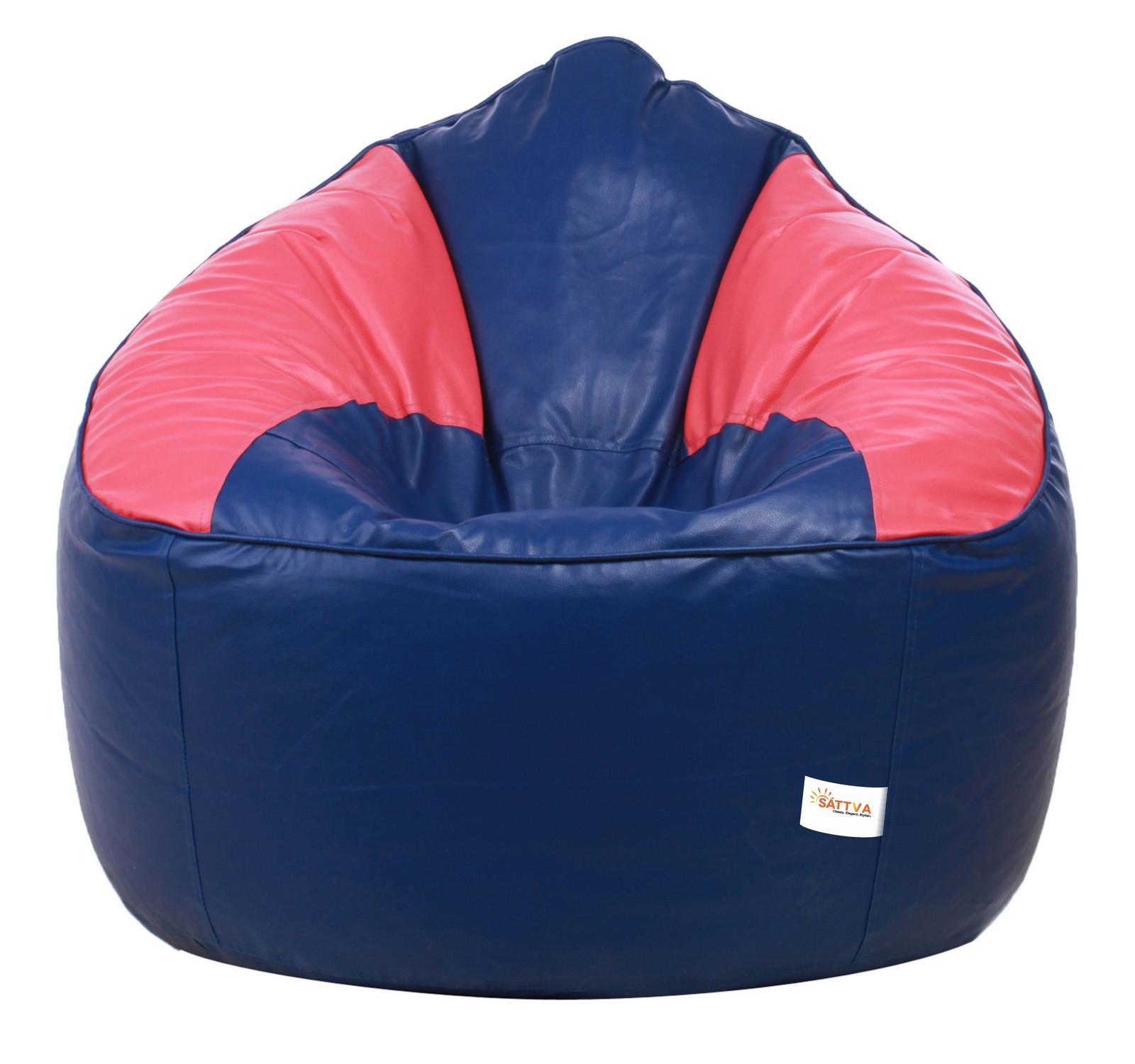 Sattva Combo Muddha Dual Color Bean Bag And Foostool - Filled Black Red - XXXL (Royal Blue Pink, XXXL)