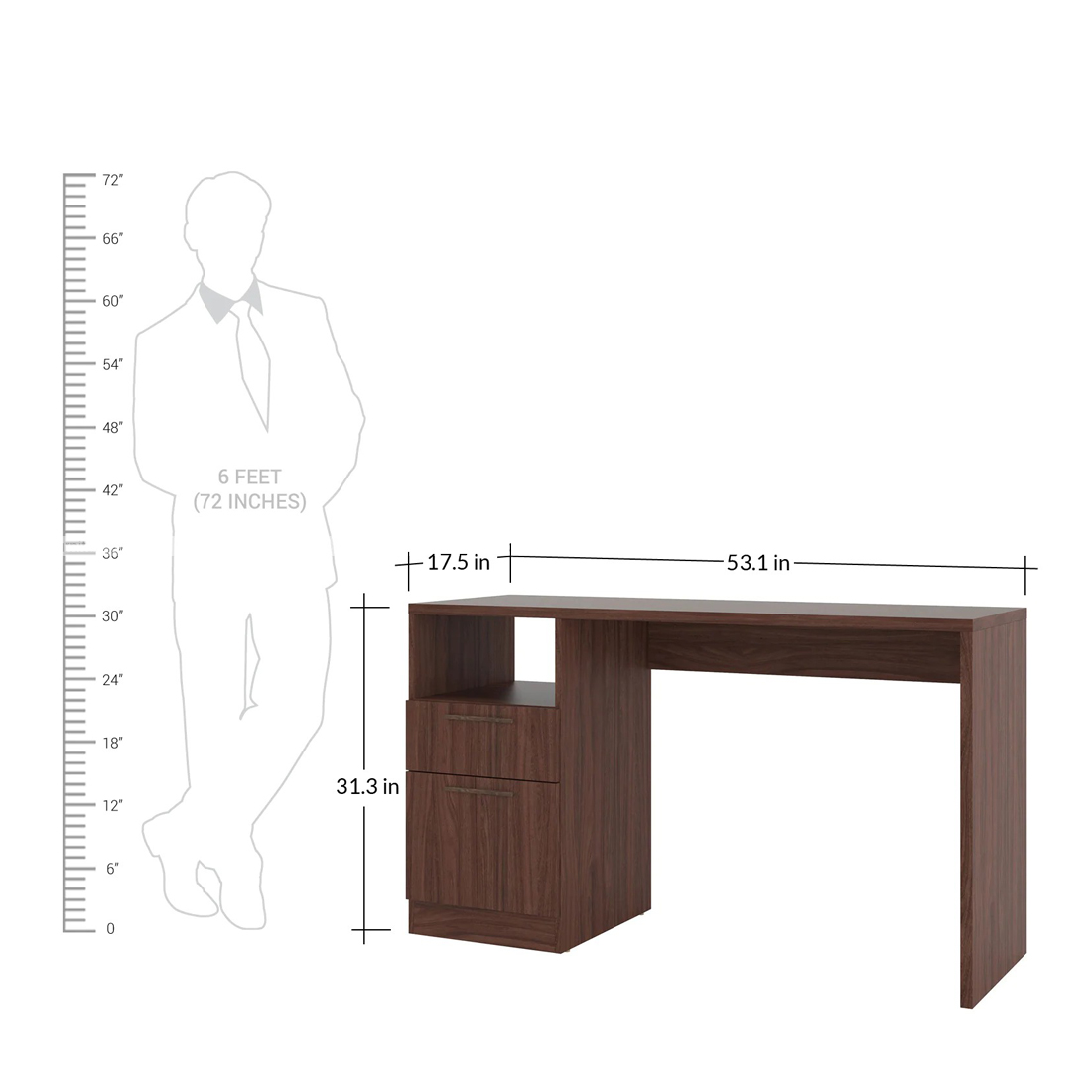 Chandra Furniture Emica Study Table With Drawer & Cabinet In Nut Brown Finish