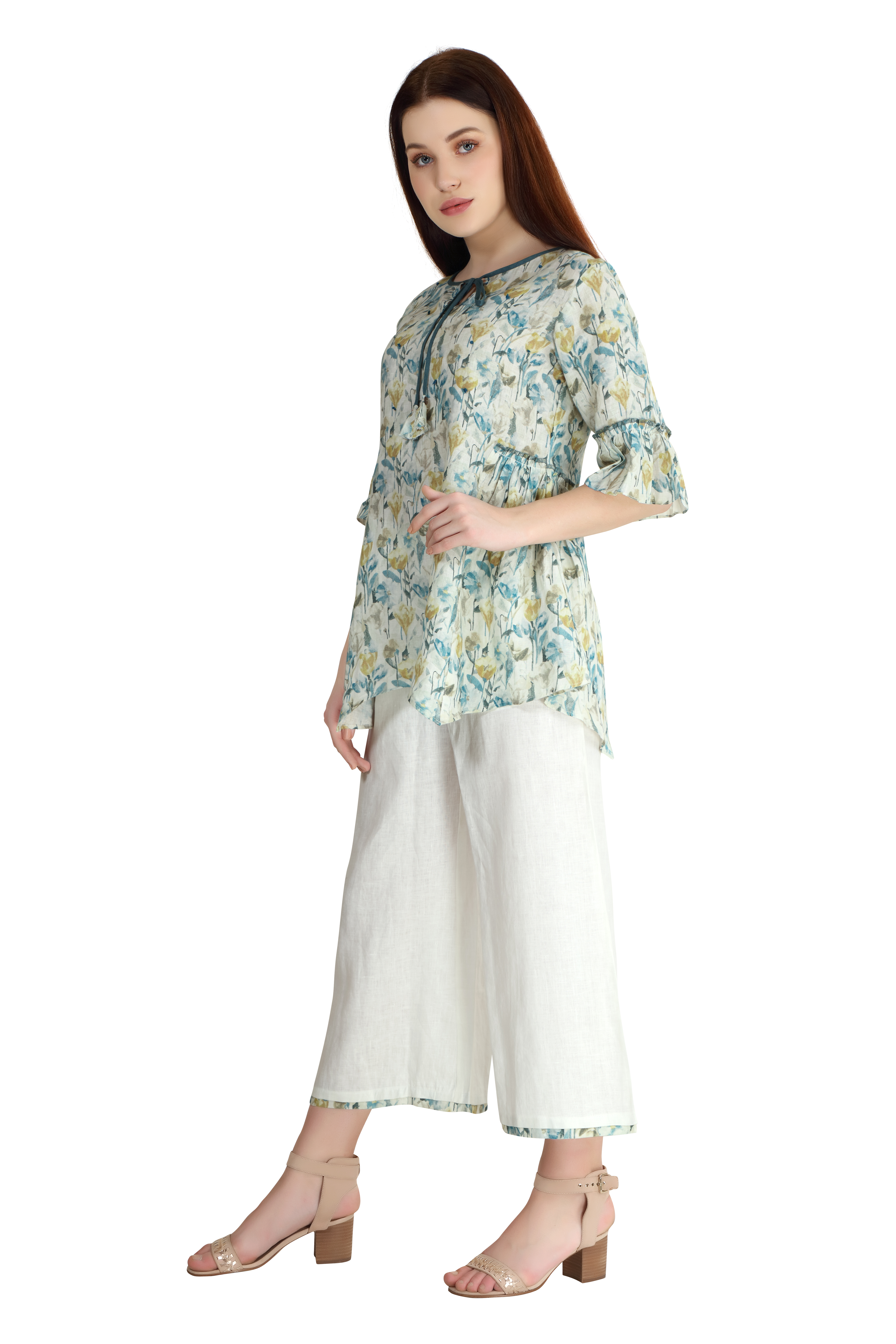 202007 White Gardenia Linen Tunic And Culottes Coord Set XS - White And Green (L,White and Green)