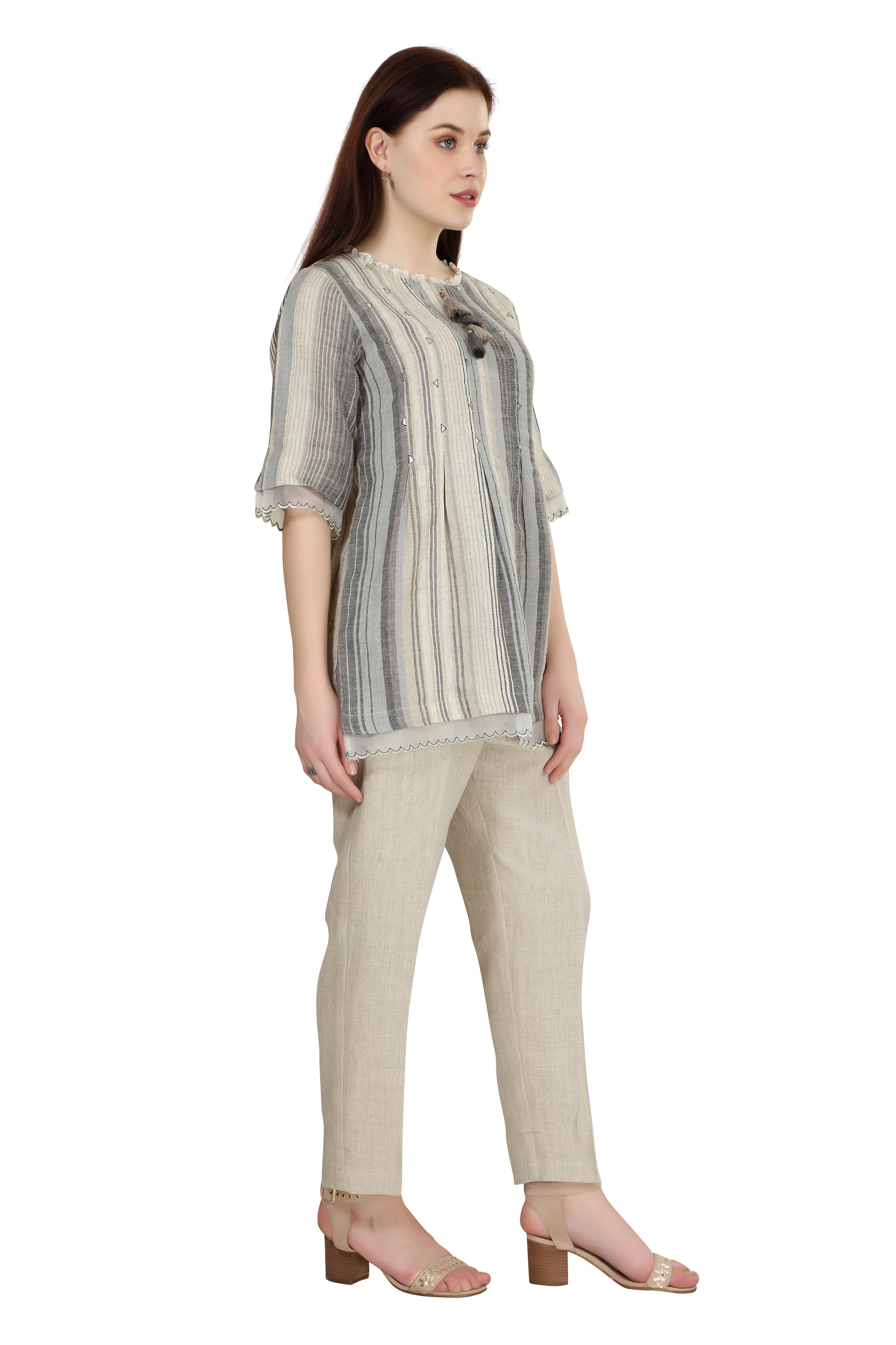 202033 Stone Stripe Linen Top And Natural Pants Co-ord Set XS - Grey (M,Grey)