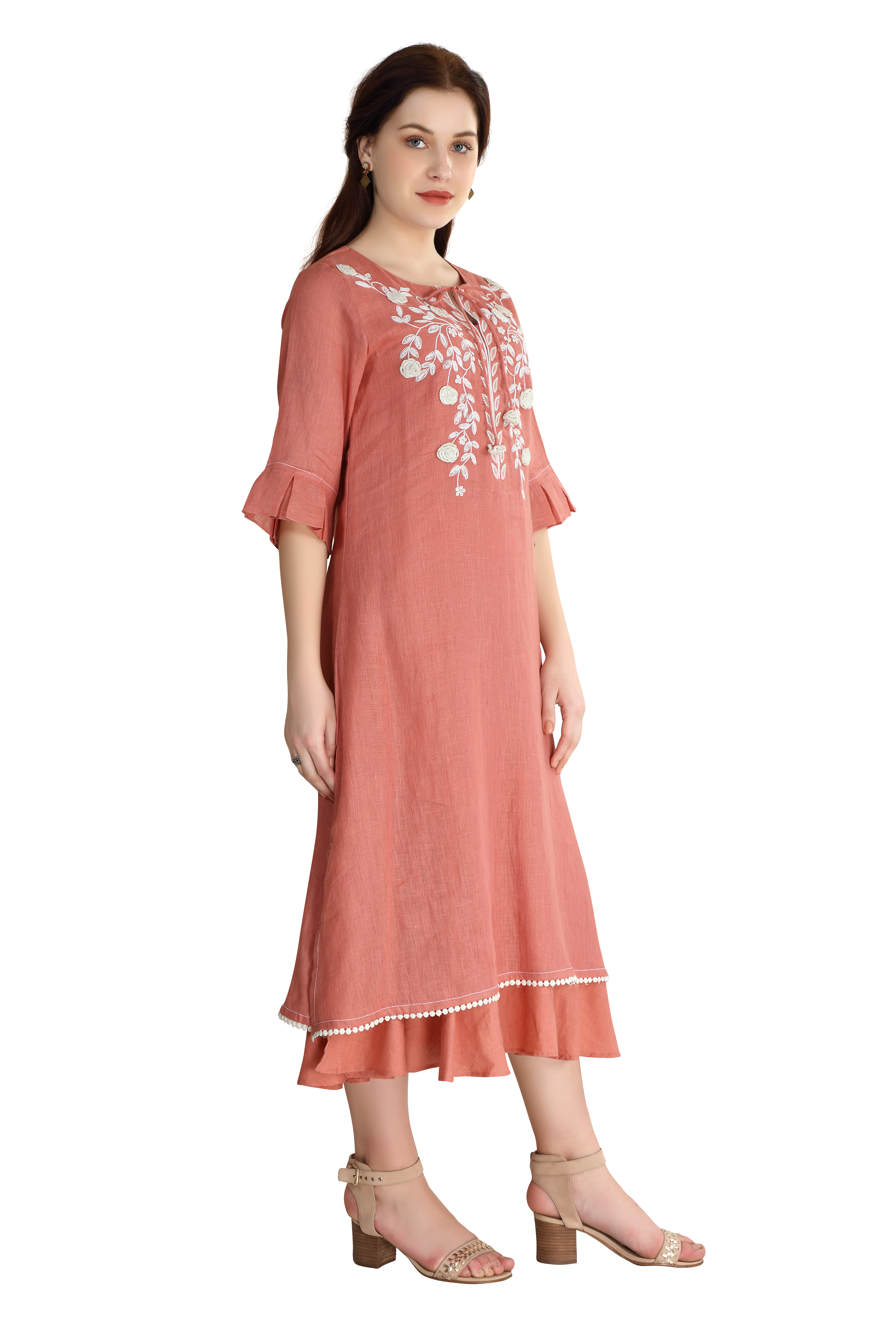 202017 The Dusty Rose Embroidered Linen Dress XS - Dusty Rose (XS,Dusty Rose)