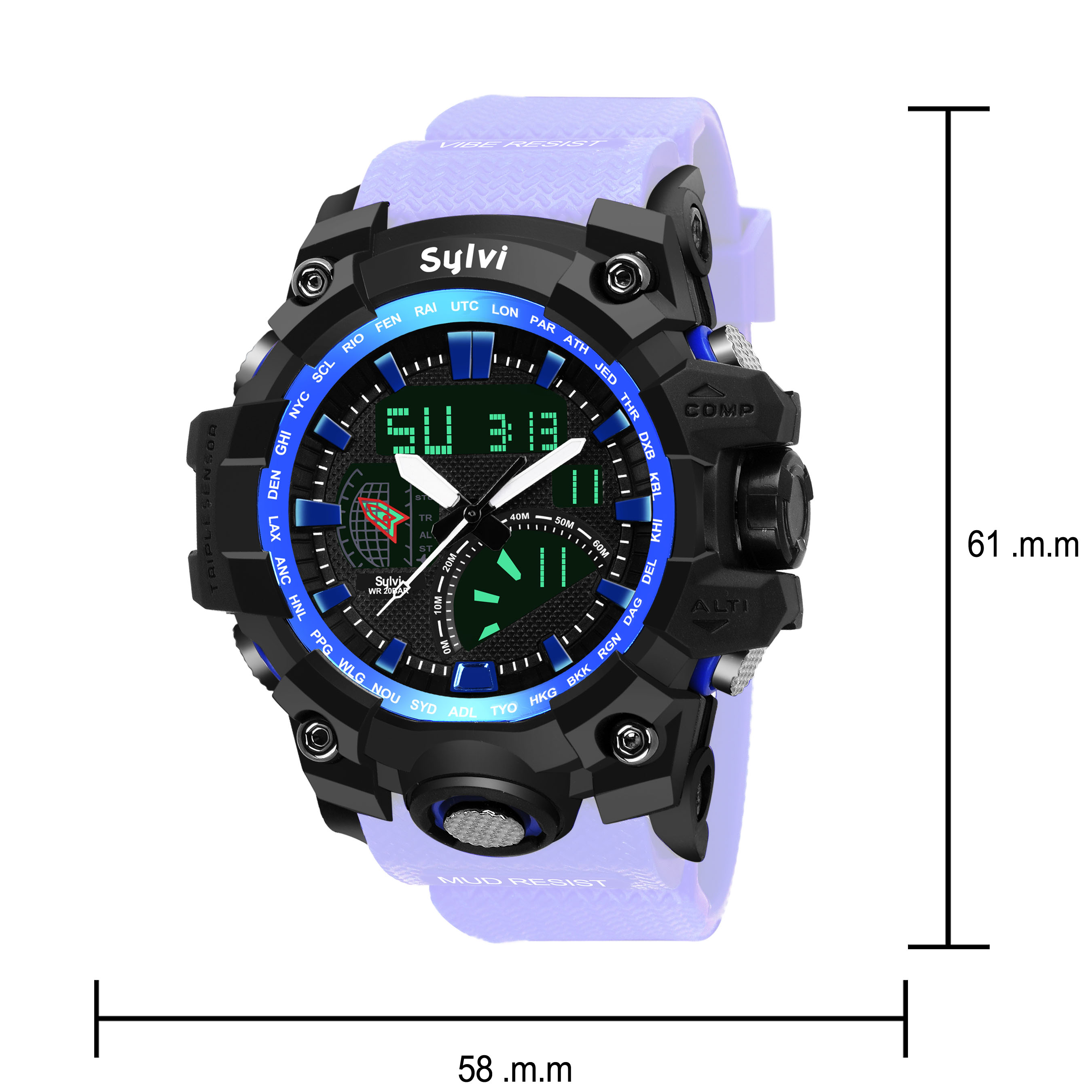 Sylvi Black Dial Blue Strap Alanog Digital Men Sport Watch
