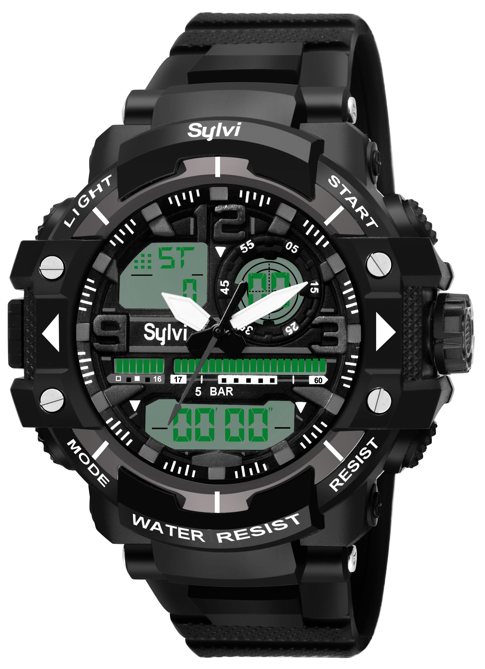 Sylvi Black Analog Digital Men Sport Wrist Watch