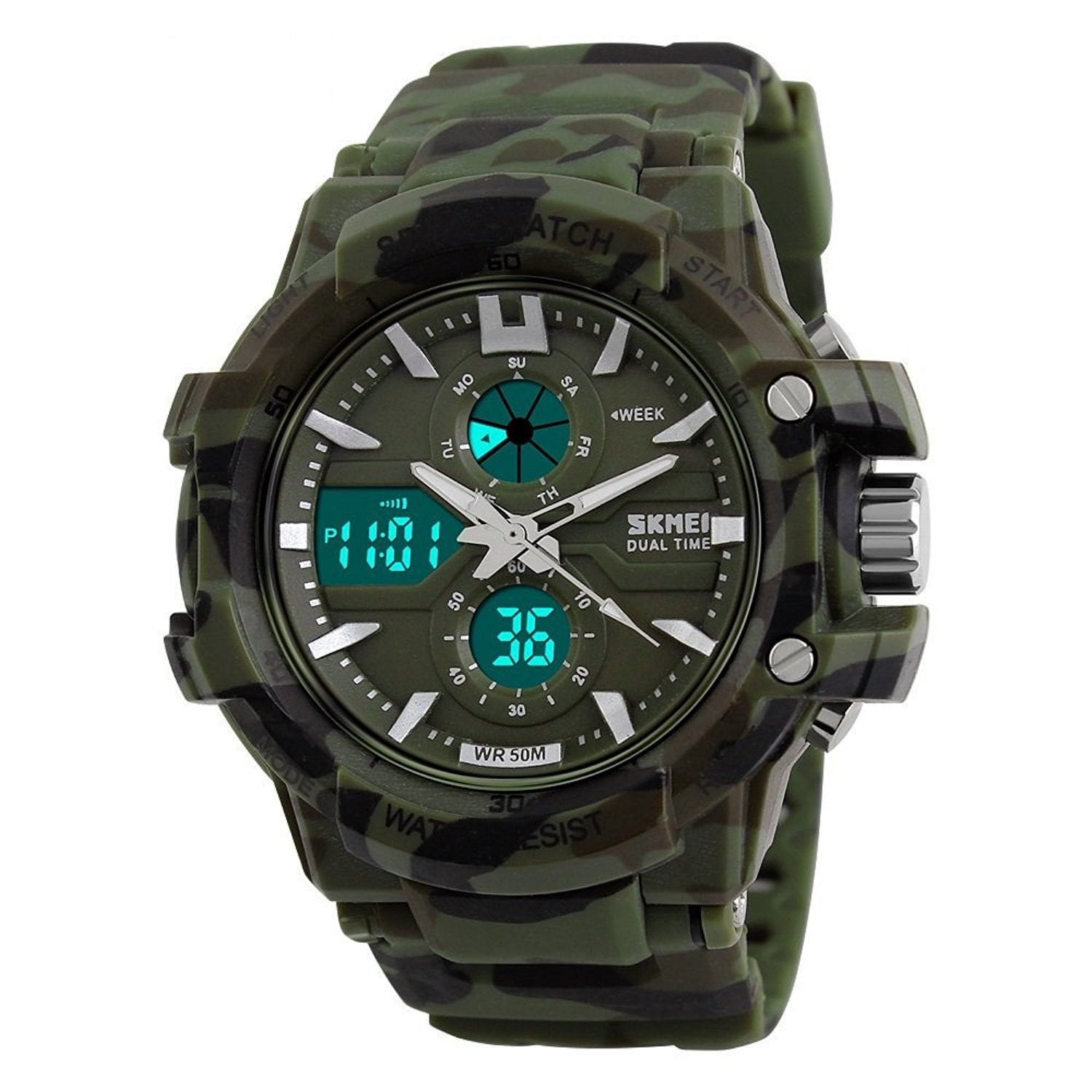 SKMEI Military Green Sporty Watch For Men's Watch - For Men