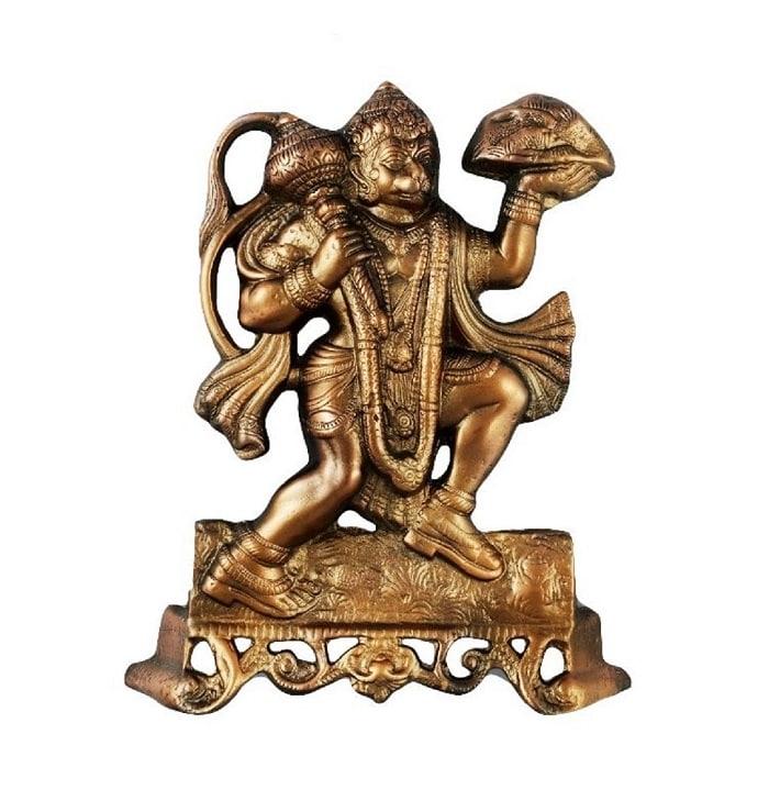 Numeroastro Handcrafted Wall Hanging Hanuman Ji Idol In Copper (33 Cm) (1 Pc)