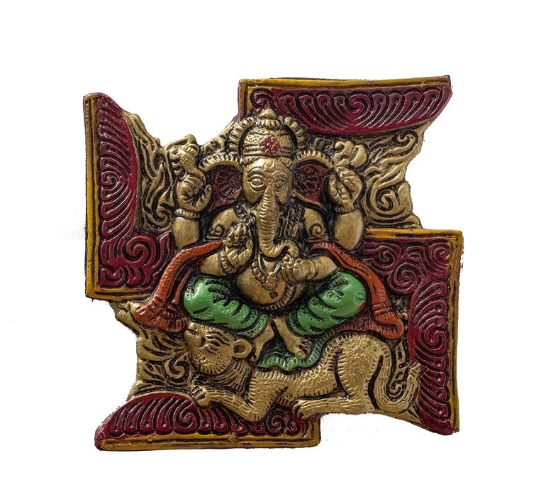Numeroastro Beautifully Handcrafted Lord Ganesha On Swastik Wall Hanging For Good Luck (15.5 Cms)