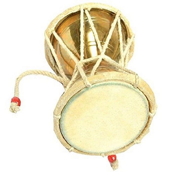 Numeroastro Lord Shiva Brass Damru/Damroo For Puja/Puja Ghar (10 Cm)