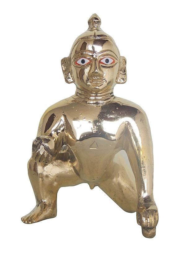 Numeroastro Beautifully Handcrafted Laddu Gopal | Baal Krishna Idol In Brass (10 Cms) (1 Pc)