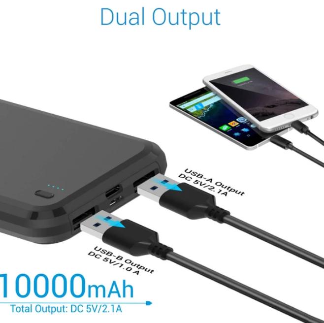 Portronics Power Brick 10 10000mAh Power Bank With Dual Input (Micro+Type-C) (Black)