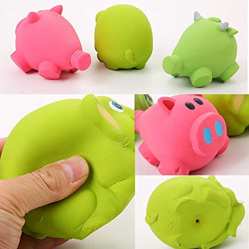 Pets Empire Pet Dog Natural Latex Chew Toys Big Pig Shaped Squeaky Toy Puppy Durable Realistic Animals Toys For Solving Boredom (Pig)