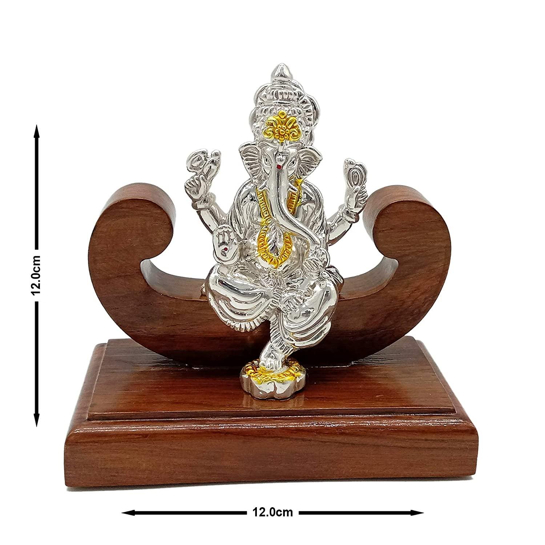 Silver Ganpati/Ganesh Idol With Wooden Base 30gm 999 Purity