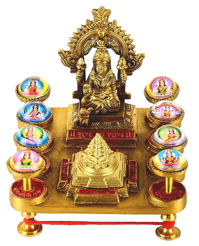 Numeroastro Beautifully Handcrafted Shree Ashta Laxmi   Shri Yantra Chowki In Pure Brass (13 Cms) (1 Pc)