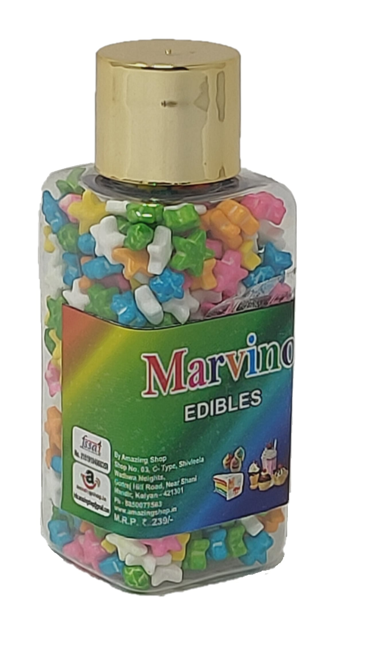 Marvino Edibles Cake And Pastries Decoration (Multi Colored Stars)