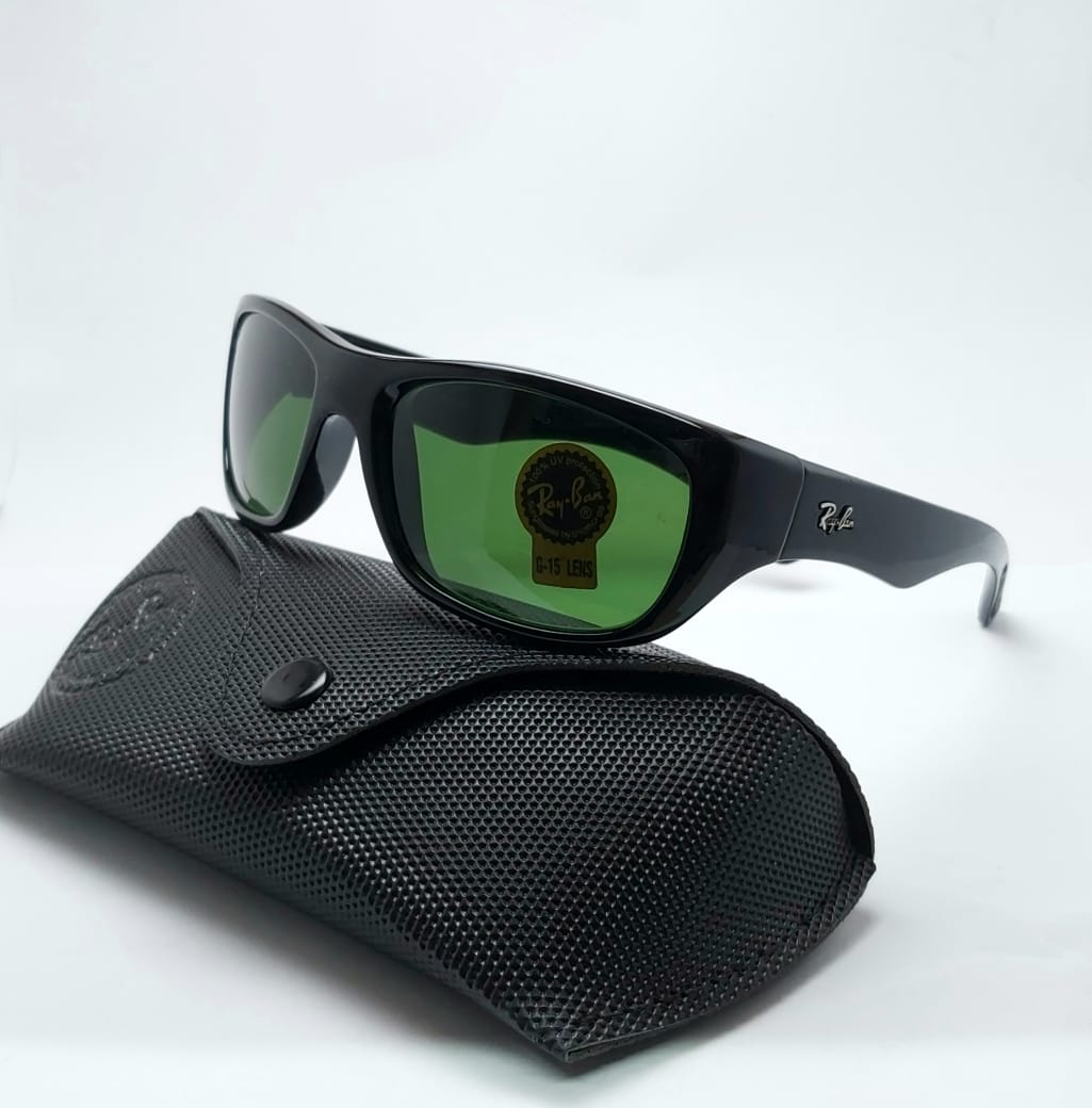 RB-4177 SPORTS SUNGLASSES BLACK GLOSSY FRAME GREEN GLASSES