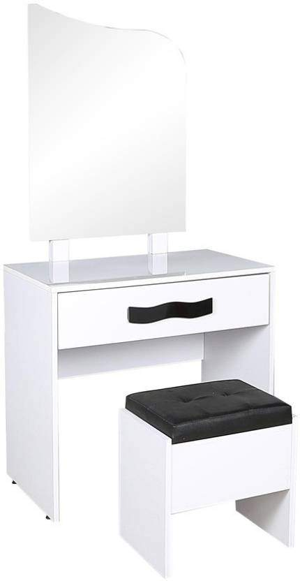 Parin D 205-LC-WHT Glass Dressing Table (White)