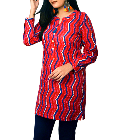 Pink Printed Cotton Kurti For Women (38, Pink)