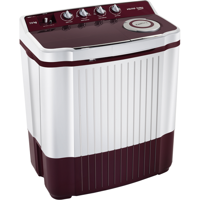 Voltas Beko 7 Kg Semi Automatic Washing Machine (Burgundy) WTT70DBRT