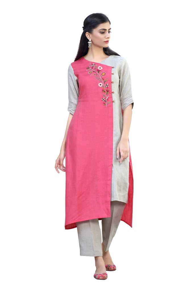180832 Pink And Natural Overlap Tunic With Embroidery (L,Pink)