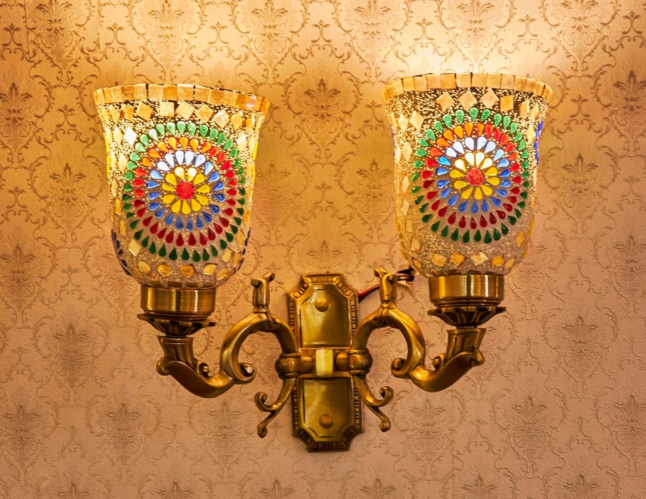 Aura Wall Light Double Head Mosaic Multicolour Customizable