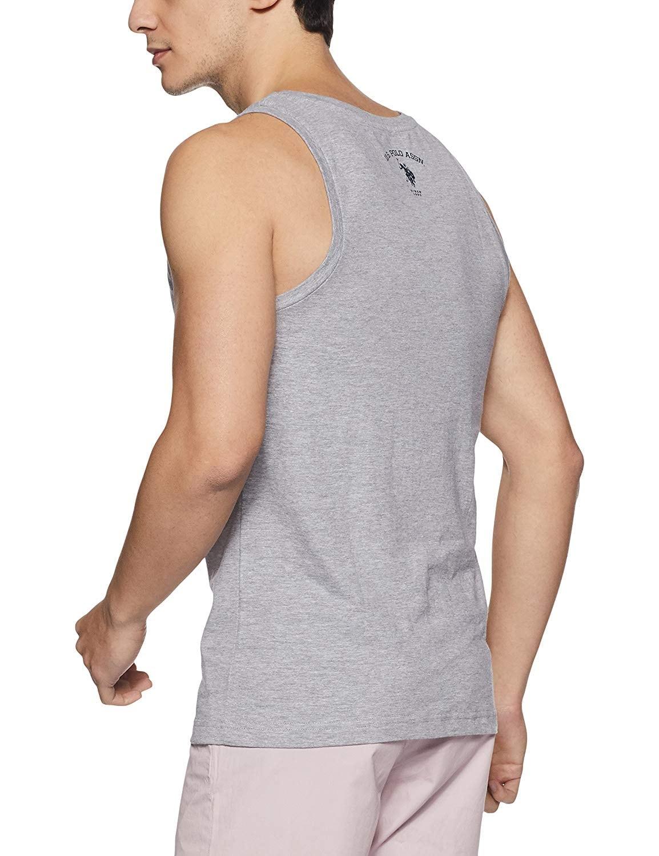 US POLO ASSN Men Grey Melange Vest (M,Grey Melange)