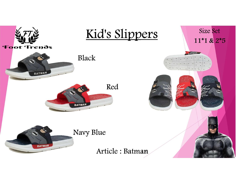 Foot Trends Batman Slipper For Kids (11-1-4 Pair)_Batman-Multi-11-1 (Multi, 11-14, 4 PAIR)