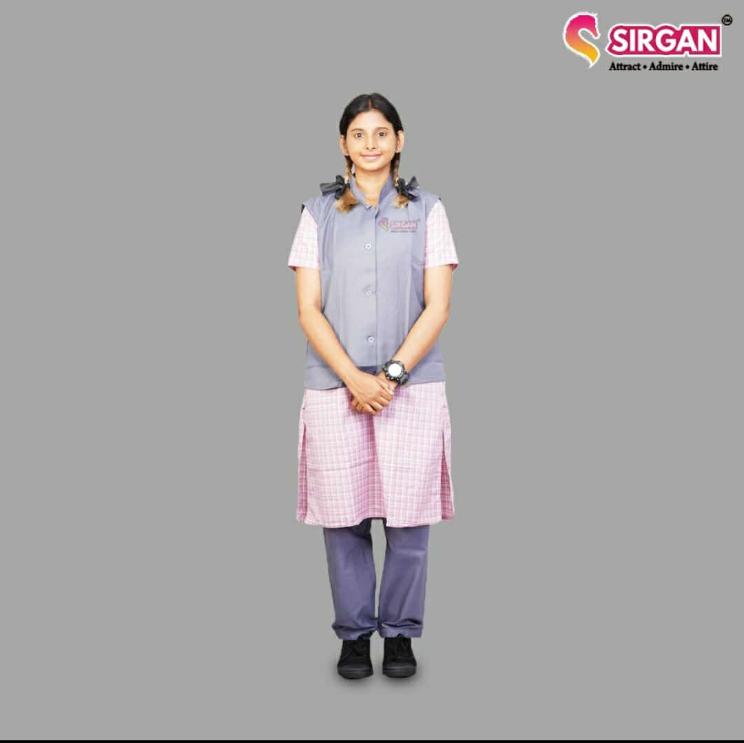 Rank TN Govt 9 - 10th Std Pink Salwar Suit With Coat (13-14years)
