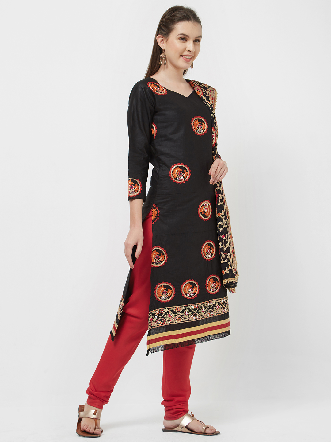 Viva N Diva Yuvika Black Embroidered Cotton Salwar Kmaeez Dress Material