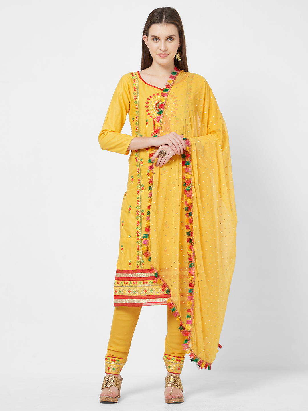 Viva N Diva Yellow Embroidered Cotton Office Wear Women Dress Material