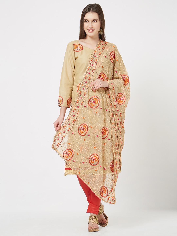 Viva N Diva Cream Embroidered Casual Cotton Salwar Kameez