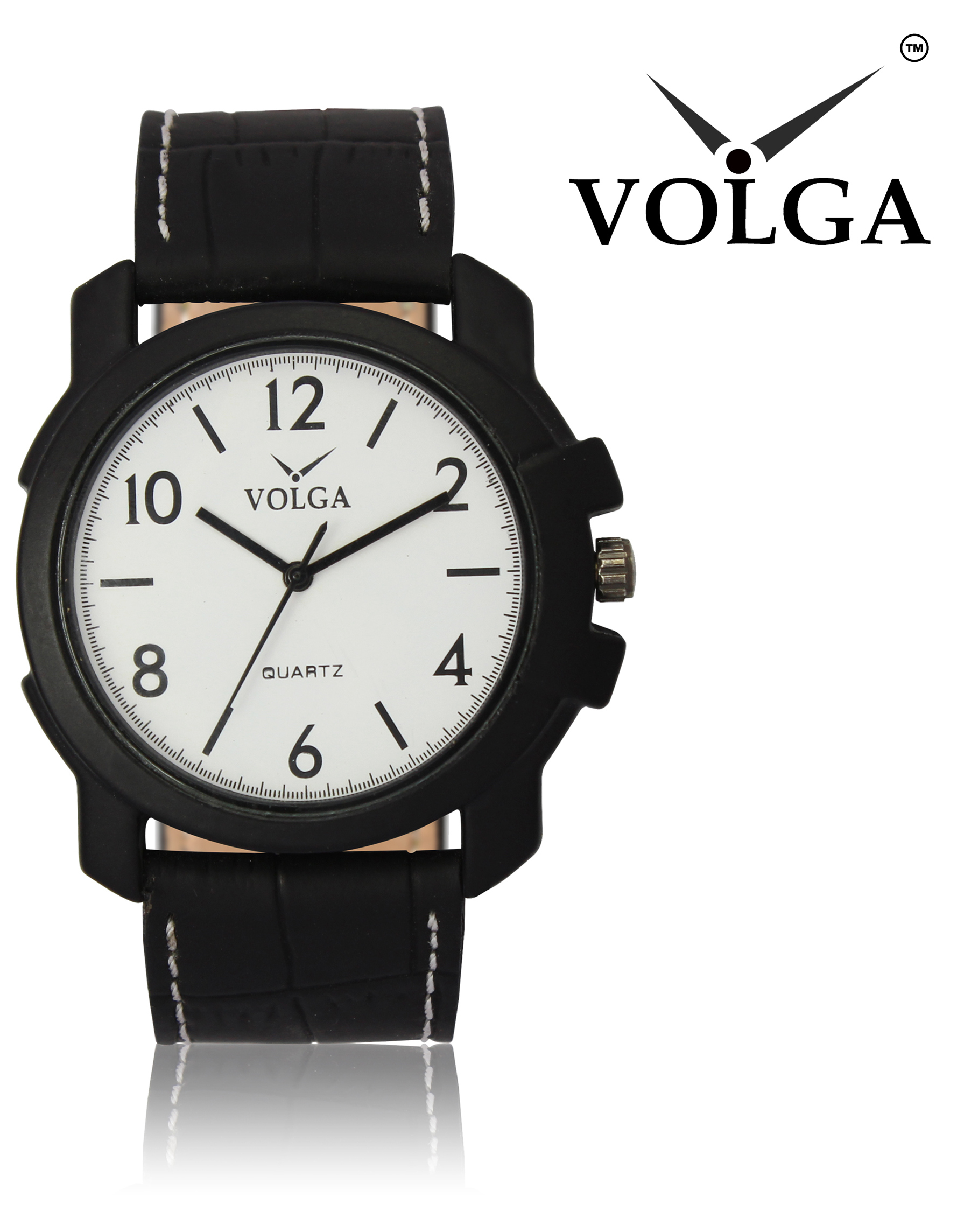 New Arrival Stylish And Professional Analogue White Dial And Black Leather Belt Special Volga Watch For Boys And Men