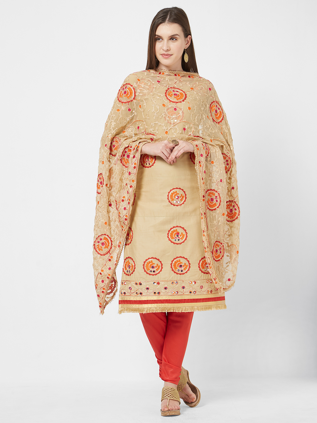 Viva N Diva Cream Embroidered Casual Cotton Salwar Kameez