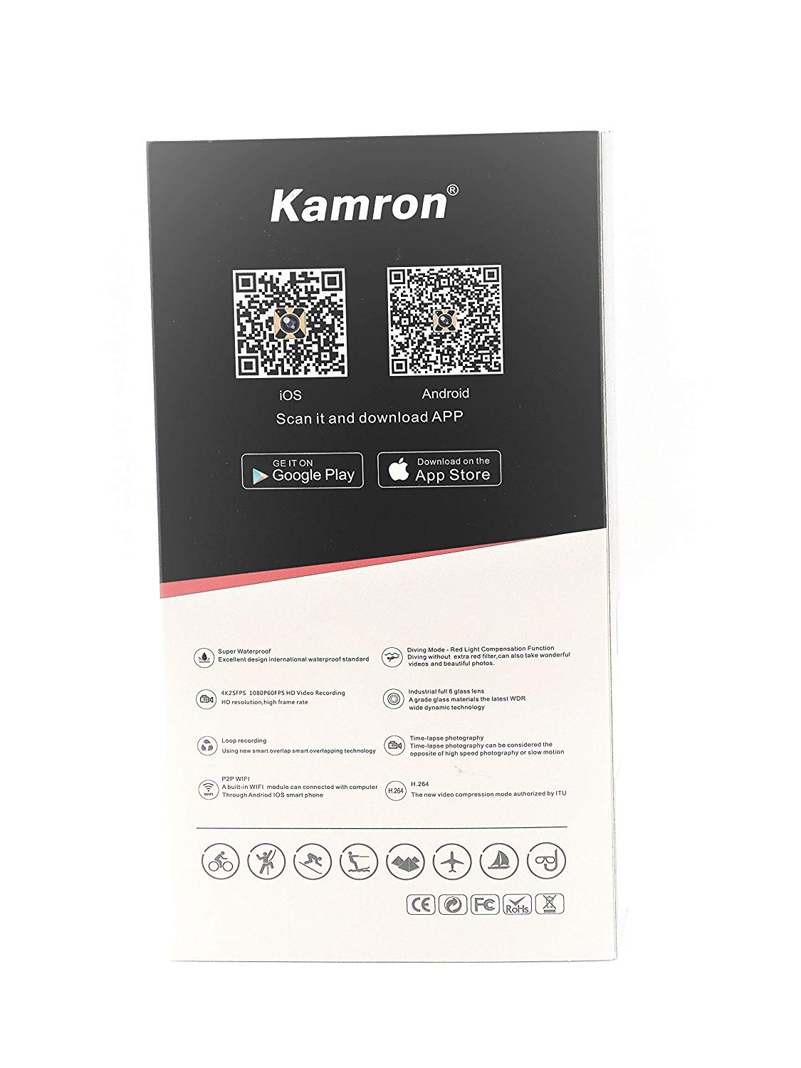 Kamron 4k Waterproof Action Camera K6 Plus With Combo Pack