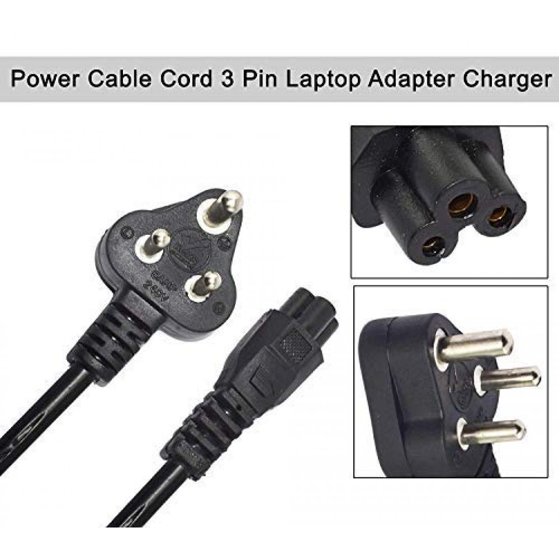 3 PIN LAPTOP POWER CORD CABLE FOR CHARGING ADAPTER POWER SUPPLY OF DELL HP SAMSUNG ACER ASUS & ALL OTHER BRAND LAPTOP