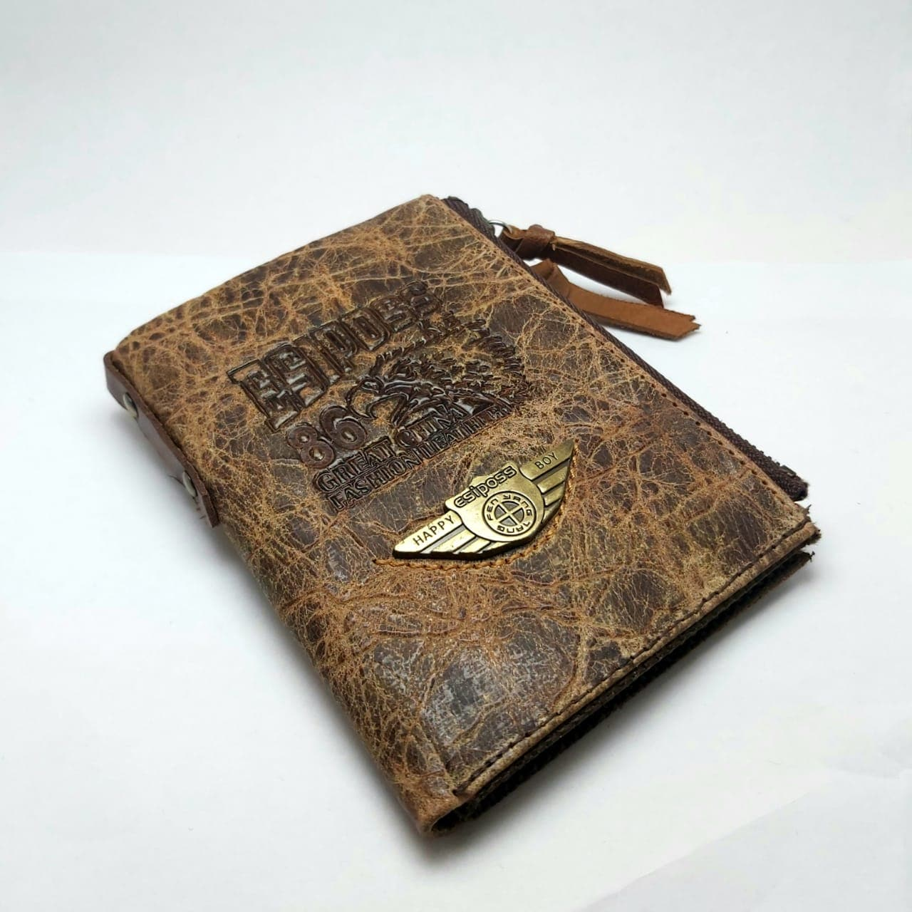 ESIPOSS Wallet EP07 Men Genuine Leather Men Purse Vintage With Zipper Coin Pocket Famous Brand Designer Wallets For Men Money Bag