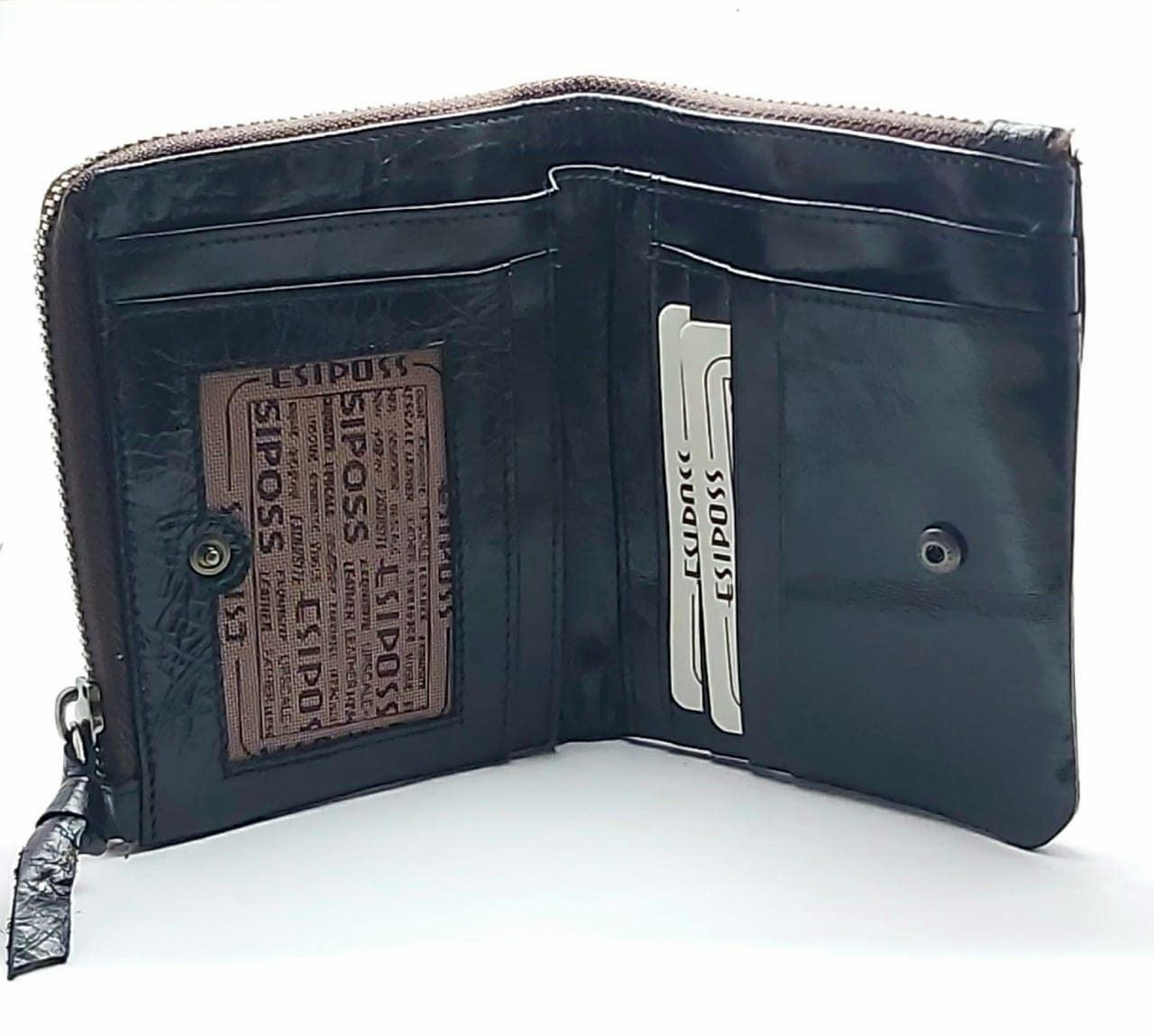 ESIPOSS Wallet EP05 Men Genuine Leather Men Purse Vintage With Zipper Coin Pocket Famous Brand Designer Wallets For Men Money Bag