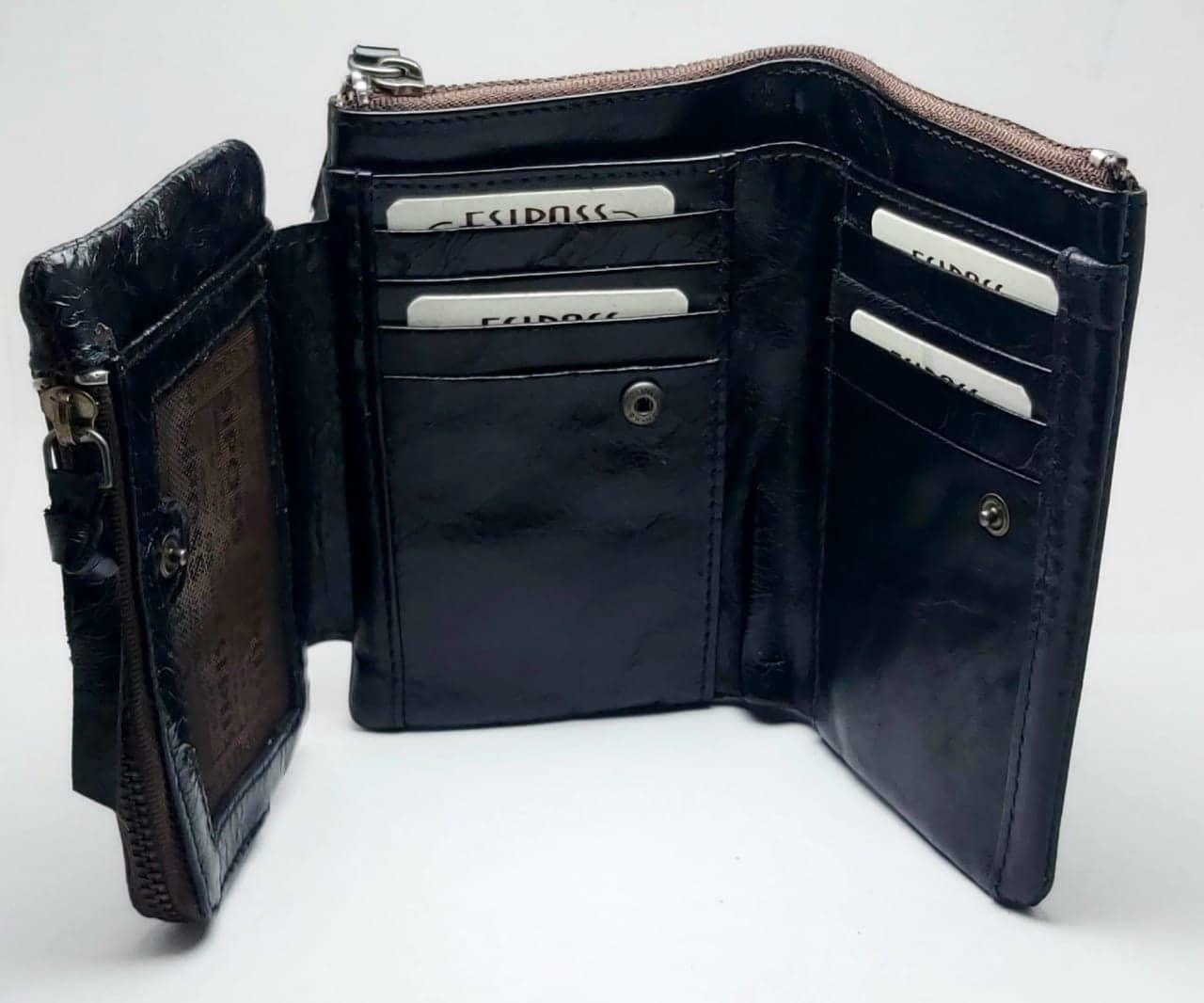 ESIPOSS Wallet EP06 Men Genuine Leather Men Purse Vintage With Zipper Coin Pocket Famous Brand Designer Wallets For Men Money Bag
