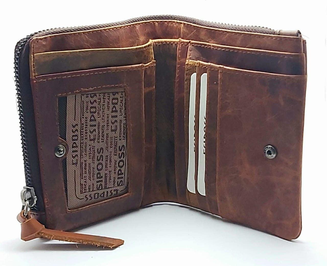 ESIPOSS Wallet EP04 Men Genuine Leather Men Purse Vintage With Zipper Coin Pocket Famous Brand Designer Wallets For Men Money Bag