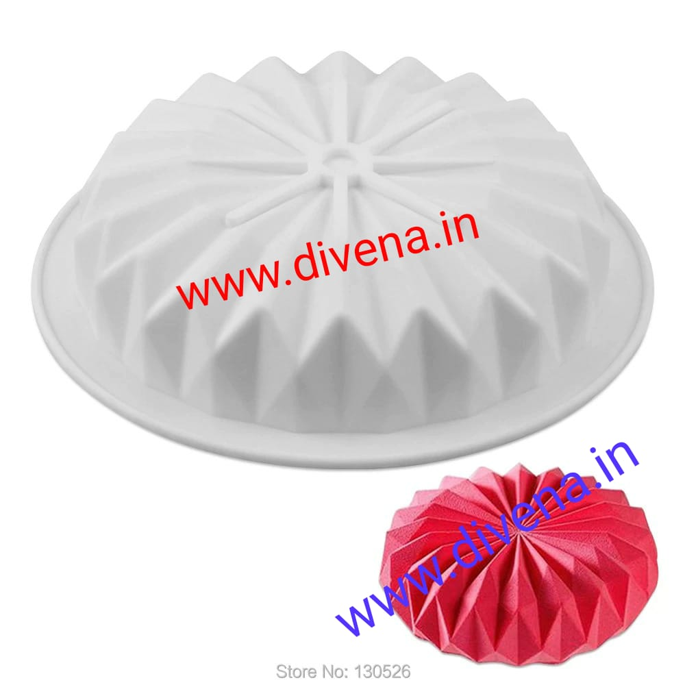 3D Round Silicone Origami Mousse Cake Mould - Divena In