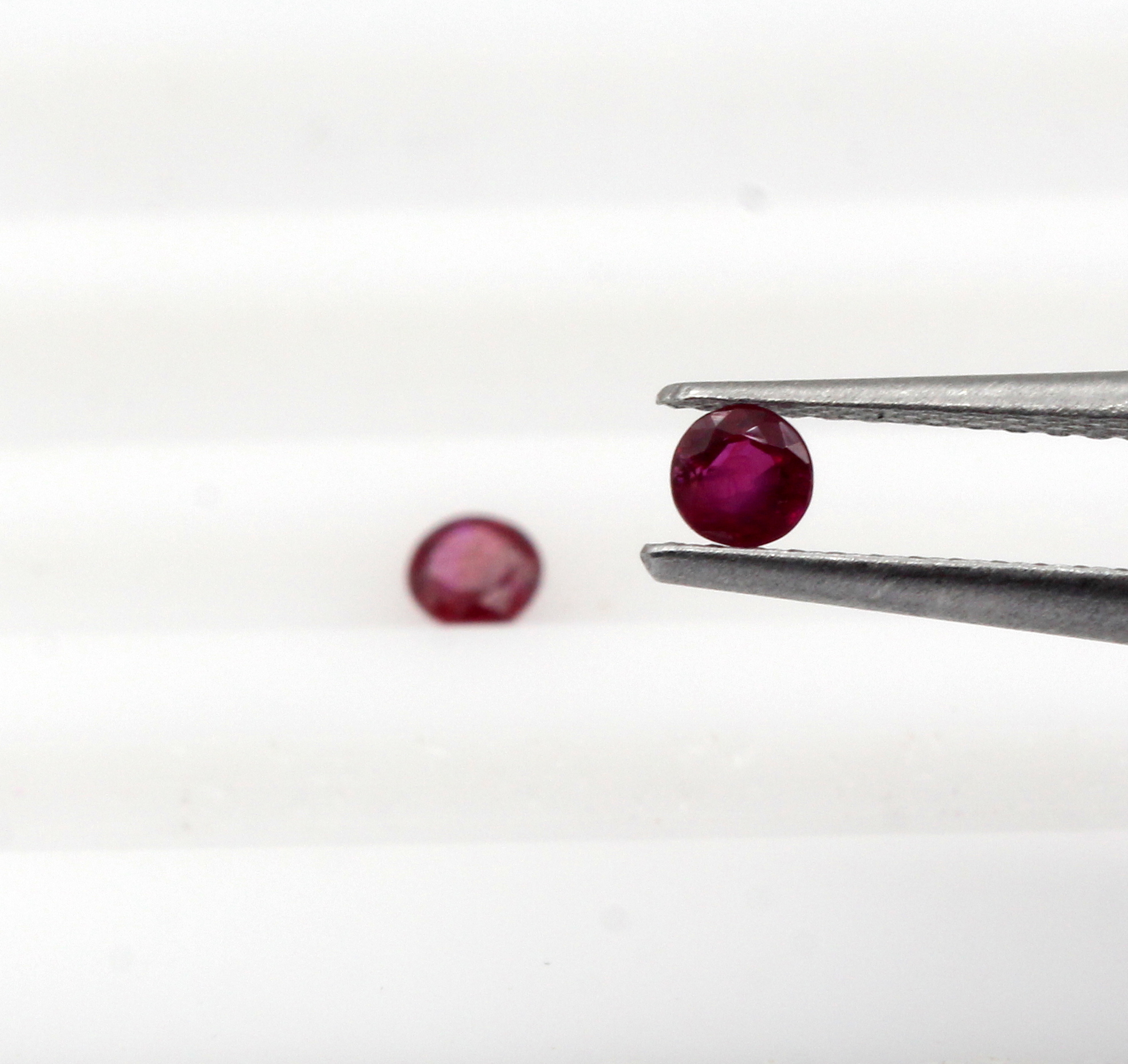 0.26 Ct Ruby Lot 2 Pieces Burma Round Shape Natural Gemstone Certified