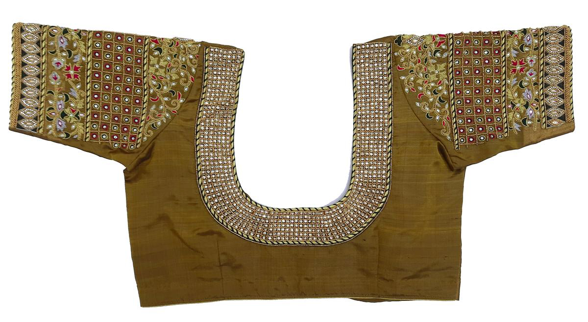 Womens Hand Embroidery Maggam Work Blouse (Green Colour)