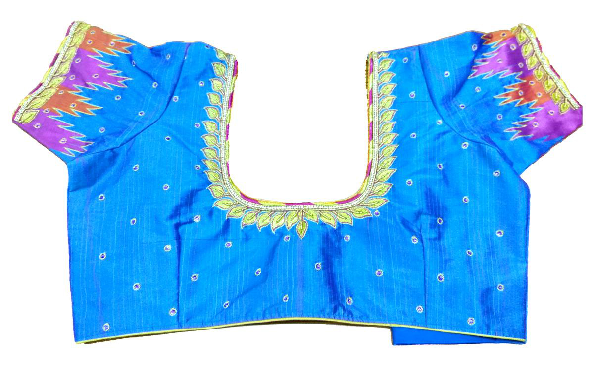 Womens Hand Embroidery Maggam Work Blouse (Blue Colour)