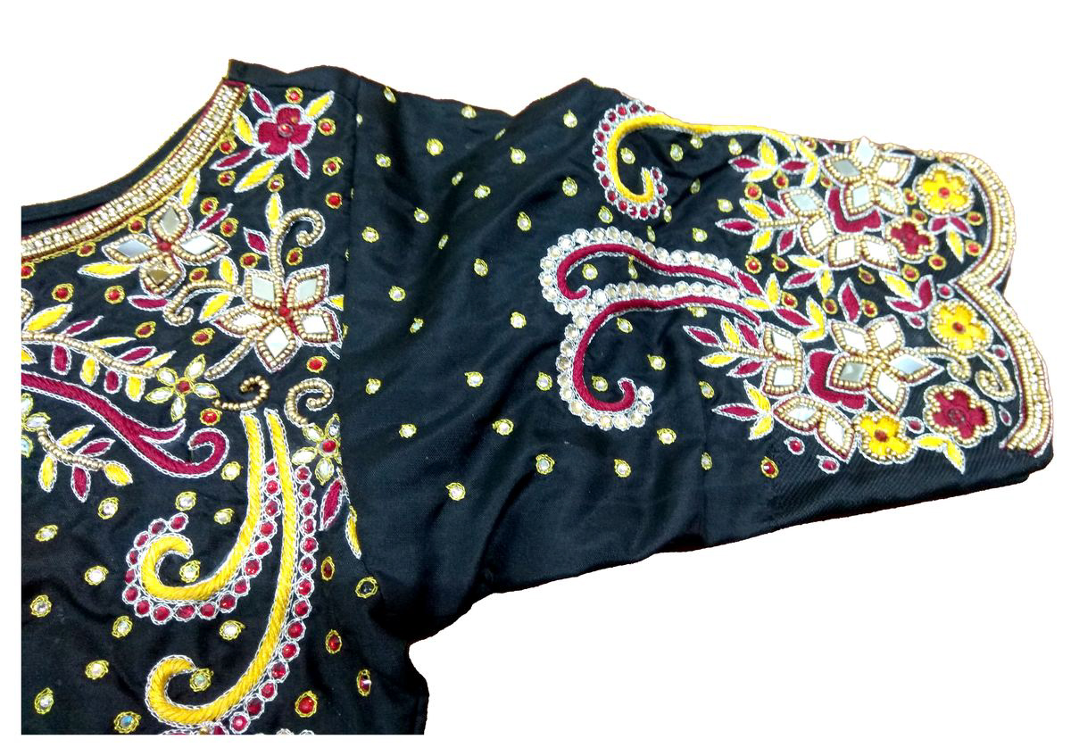 Womens Hand Embroidery Maggam Work Blouse (Black Colour)