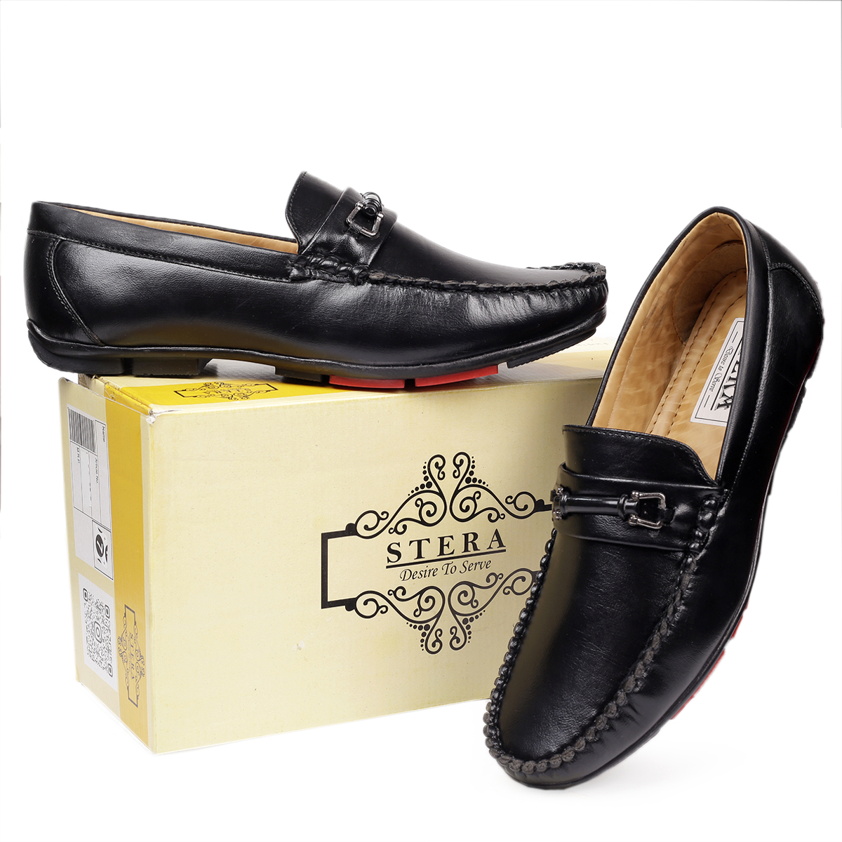 STERA MENS LOAFER SHOE NHT-3002 (BLACK, 6-10, 8 PAIR)