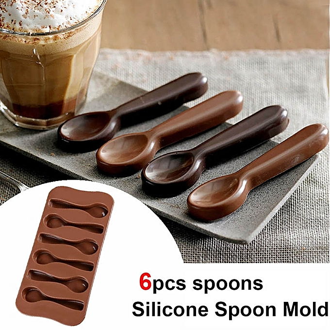 Spoon Shape Silicone Chocolate Jelly Candy Ice Cubes Clay Mold - Divena In