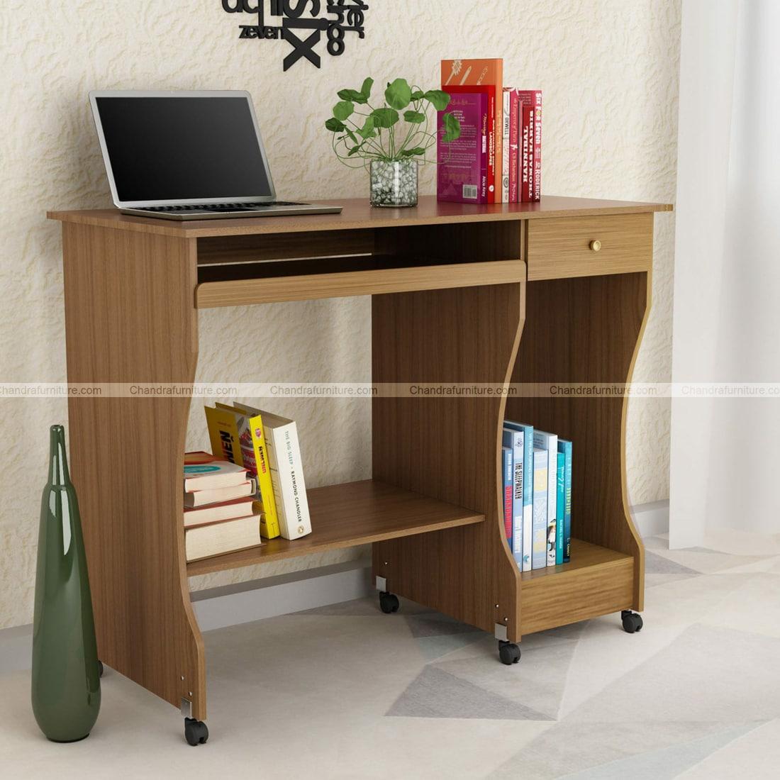 Chandra Furniture Zenith Computer Table In Teak Finish